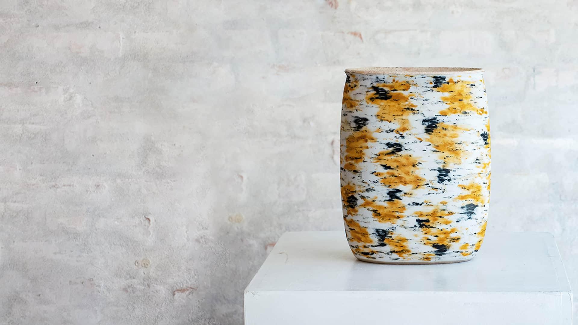 Ulf Nielsen gul keramik krukke mat glasur